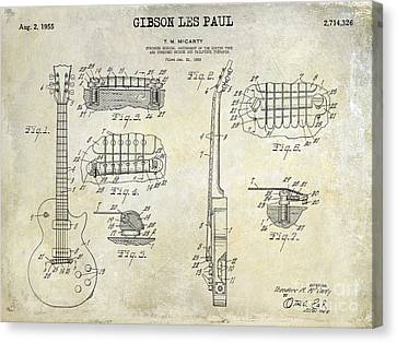 Gibson Les Paul Patent Drawing Canvas Print by Jon Neidert