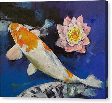 Gin Rin Koi And Water Lily Canvas Print by Michael Creese
