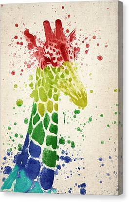 Giraffe Splash Canvas Print by Aged Pixel