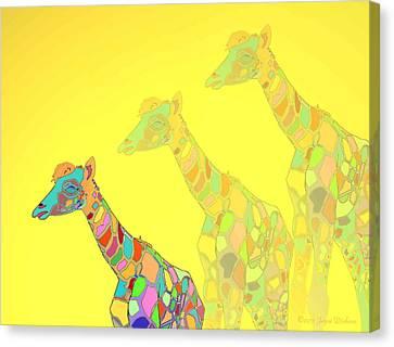 Giraffe X 3 - Yellow - The Card Canvas Print by Joyce Dickens