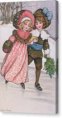Girl And Boy Skating Canvas Print by Florence Hardy