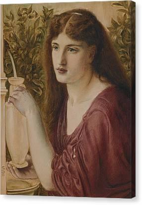 Girl At A Fountain Canvas Print by Simeon Solomon