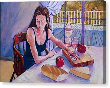 Girl Having Lunch At Montlake Canvas Print by Herschel Pollard