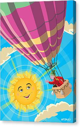 Girl In A Balloon Greeting A Happy Sun Canvas Print by Martin Davey