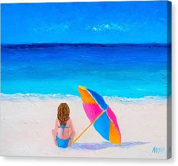 Girl In A Blue Bikini Canvas Print by Jan Matson