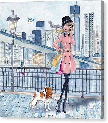 Girl In New York Canvas Print by Caroline Bonne-Muller