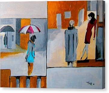 Girl In Red Canvas Print by Mirko
