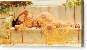 Girl In Yellow Drapery Canvas Print by Pg Reproductions