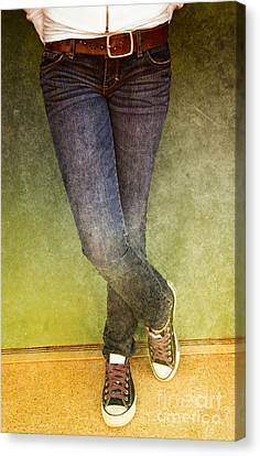 Girl Leaning Against Wall Canvas Print by Birgit Tyrrell
