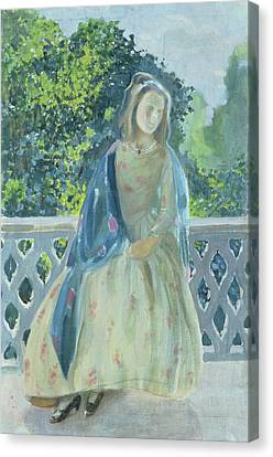 Girl On Balcony, 1900 Canvas Print by Viktor Elpidiforovich Borisov-Musatov