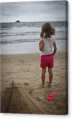 Girl On Beach Canvas Print by Kevin Barske