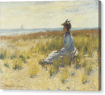 Girl Seated By The Sea Canvas Print by Robert Henri