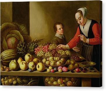 Girl Selling Grapes From A Large Table Laden With Fruit And Vegetables Canvas Print by Floris van Schooten
