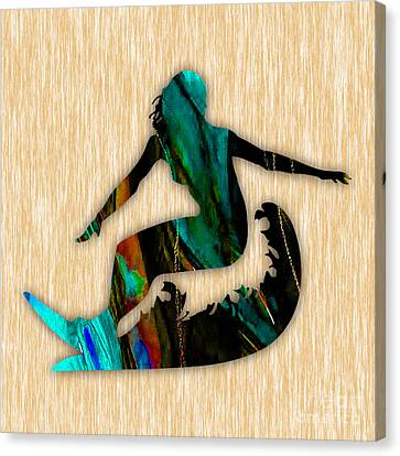 Girl Surfing Painting Canvas Print by Marvin Blaine