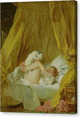Girl With A Dog Canvas Print by Jean Honore Fragonard