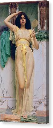 Girl With A Mirror Canvas Print by John William Godward