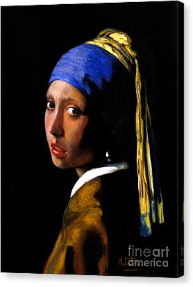 'girl With A Pearl Earring' After Johannes Vermeer. Canvas Print by John  Palmer