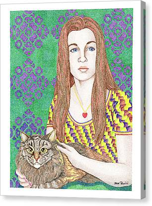 Girl With Cat Canvas Print by Jack Puglisi