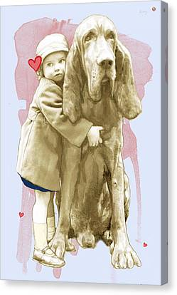Girl With Dog Stylised Pop Modern Art Drawing Sketch Portrait Canvas Print by Kim Wang