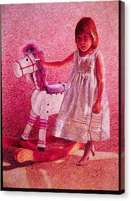 Girl With Hobby Horse Canvas Print by Herschel Pollard