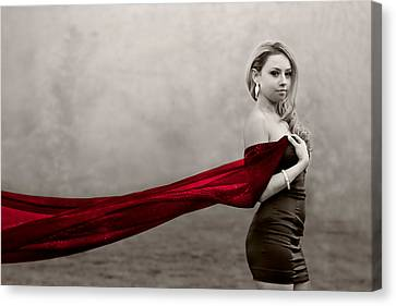 Girl With Red Scarf Canvas Print by Elvira Pinkhas
