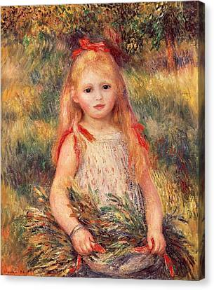 Girl With Sheaf Of Corn Canvas Print by Pierre-Auguste Renoir