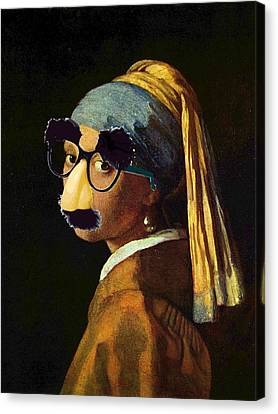 Girl With The Pearl Earring And Groucho Glasses Canvas Print by Tony Rubino