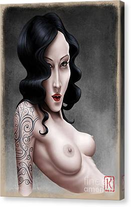Girl With The Tribal Tattoo Canvas Print by Andre Koekemoer