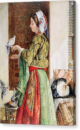 Girl With Two Caged Doves, Cairo, 1864 Canvas Print by John Frederick Lewis