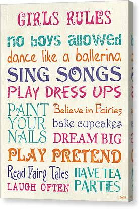Girls Rules Canvas Print by Debbie DeWitt