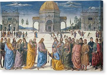 Giving Of The Keys To St Peter, From The Sistine Chapel, 1481 Canvas Print by Pietro Perugino