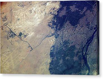 Giza Plateau And Cairo Canvas Print by Nasa