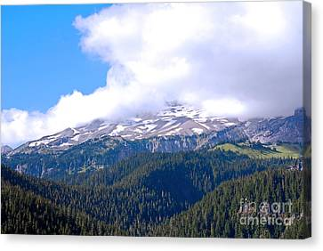 Glaciers In The Clouds. Mt. Rainier National Park Canvas Print by Connie Fox