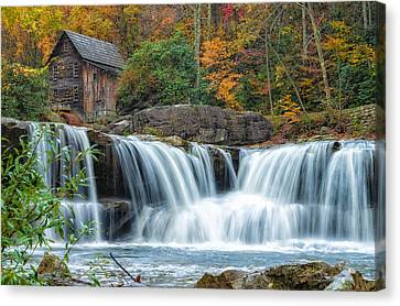 Glade Creek Grist Mill And Waterfalls Canvas Print by Lori Coleman