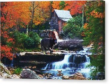 Glade Creek Grist Mill Canvas Print by Lianne Schneider