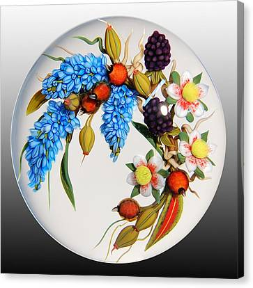 Glass Berries And Blooms Canvas Print by Chris Buzzini