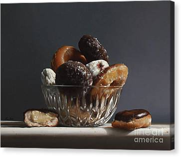 Glass Bowl Of Donuts Canvas Print by Larry Preston