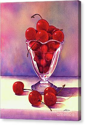 Glass Full Of Cherries Canvas Print by Nan Wright