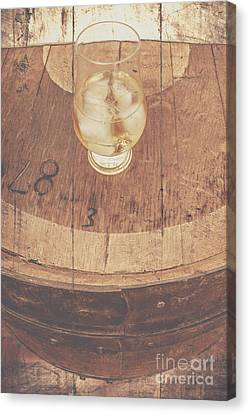 Glass Of Cellar Brandy On Old Barrel  Canvas Print by Jorgo Photography - Wall Art Gallery