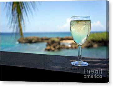 Glass Of Fresh Wine By Tropical Beach Canvas Print by Sami Sarkis