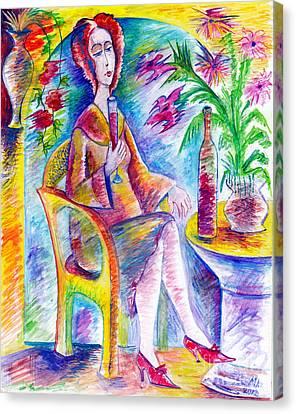 Glass Of Wine Canvas Print by Milen Litchkov