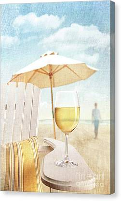 Glass Of  Wine On Adirondack Chair At The Beach Canvas Print by Sandra Cunningham