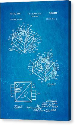Glass Rock Em Sock Em Robots Toy Patent Art 1966 Blueprint Canvas Print by Ian Monk