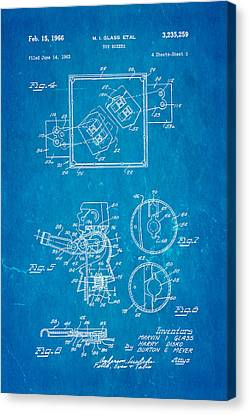Glass Rock Em Sock Em Robots Toy Patent Art 2 1966 Blueprint Canvas Print by Ian Monk