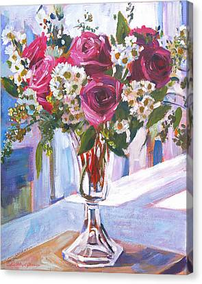 Glass Roses Canvas Print by David Lloyd Glover