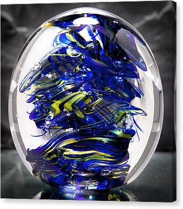 Glass Sculpture Cobalt Blue And Yellow - 13r2 Canvas Print by David Patterson