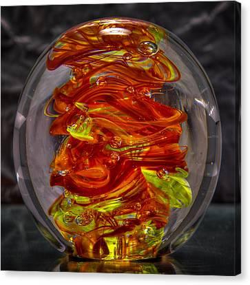 Glass Sculpture - Fire - 13r1 Canvas Print by David Patterson