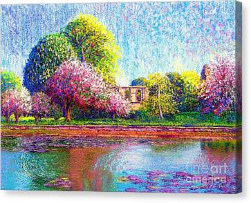 Glastonbury Abbey Lily Pool Canvas Print by Jane Small