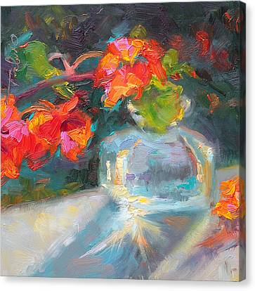 Gleaning Light Nasturtium Still Life Canvas Print by Talya Johnson