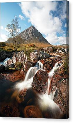 Glen Etive Mountain Waterfall Canvas Print by Grant Glendinning